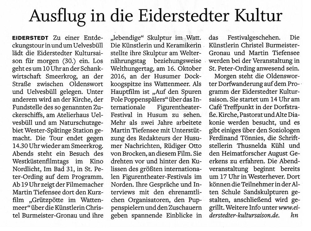 Husumer Nachrichten - 30. August 2017