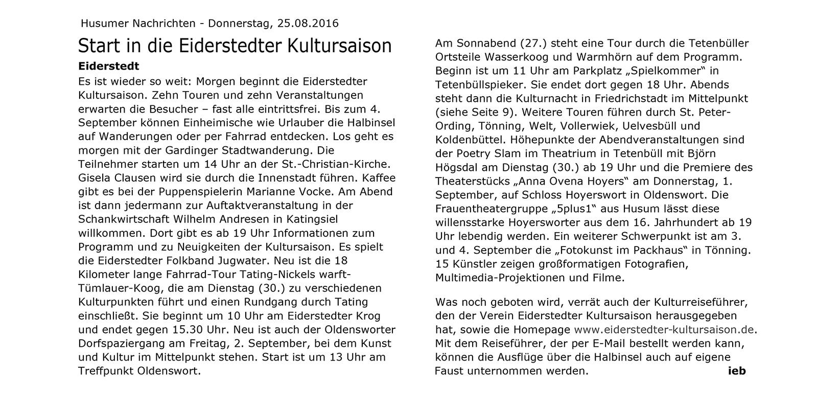 Husumer Nachrichten, Ausgabe August 2016