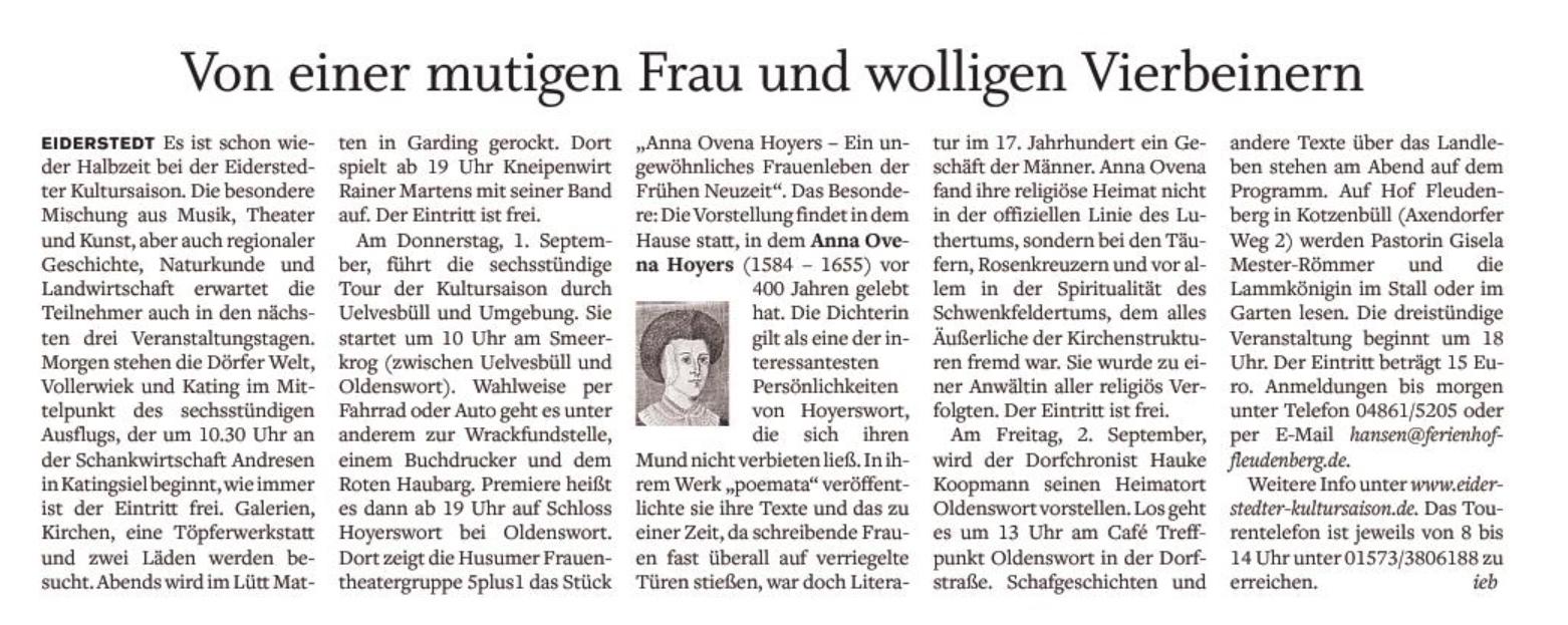 Husumer Nachrichten - 30.08.2016